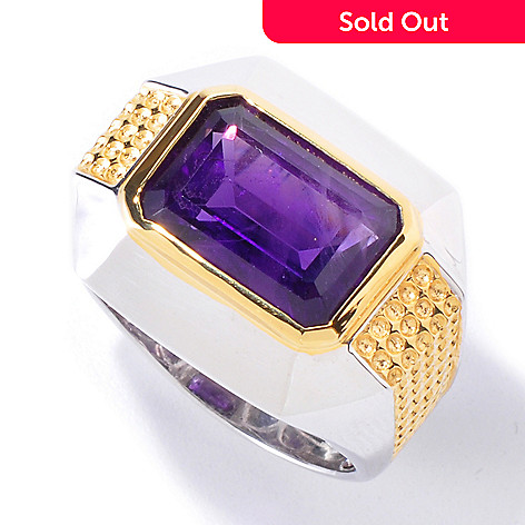 120-540 - Men's en Vogue II 7.40ctw Emerald Cut Amethyst Ring