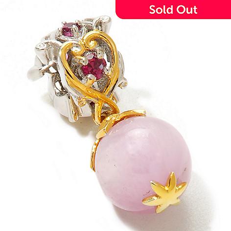 120-544 - Gems en Vogue 10mm Kunzite & Rhodolite Garnet Bead Drop Charm
