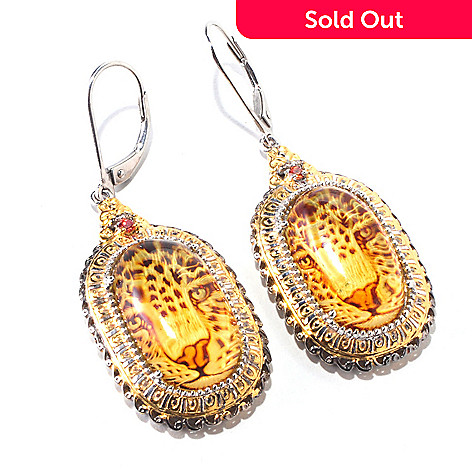 120-553 - Gems en Vogue Carved Amber & Orange Sapphire Panther Intaglio Earrings
