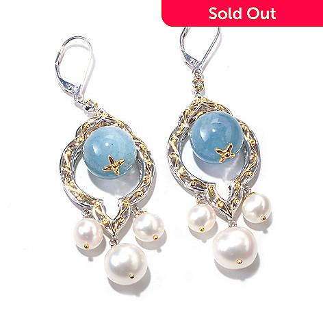 120-556 - Gems en Vogue 12mm Aquamarine & Freshwater Cultured Pearl Earrings