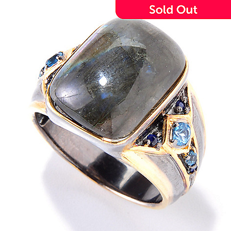 120-557 - Men's en Vogue 18 x 13mm Labradorite, Swiss Blue Topaz & Sapphire Ring