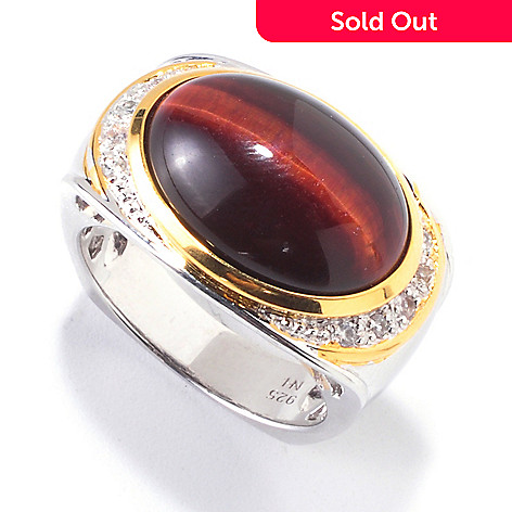 120-558 - Men's en Vogue 18 x 13mm Tiger's Eye & White Sapphire Ring