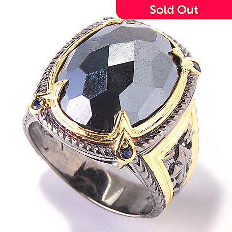 120-559 - Men's en Vogue 20 x 15mm Hematite & Sapphire Ring