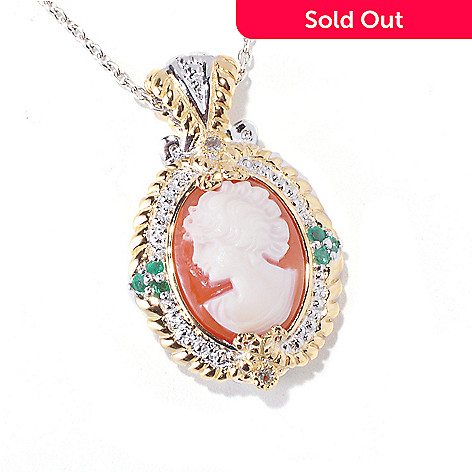 120-560 - Gems en Vogue Hand-Carved Shell Cameo, Emerald & White Sapphire Pendant w/ Chain