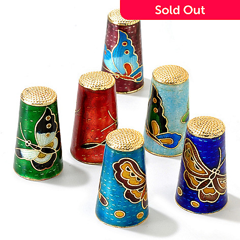 120-597 - Set of Six 39 x 23mm Cloisonne Thimbles