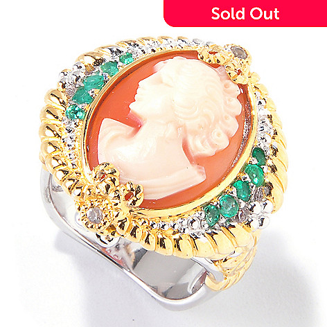 120-613 - Gems en Vogue Hand-Carved Shell Cameo, Emerald & White Sapphire Ring