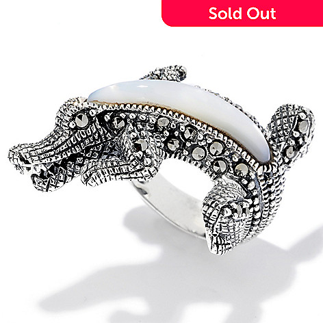 120-620 - Gem Treasures Sterling Silver Marcasite & Mother-of-Pearl Alligator Ring