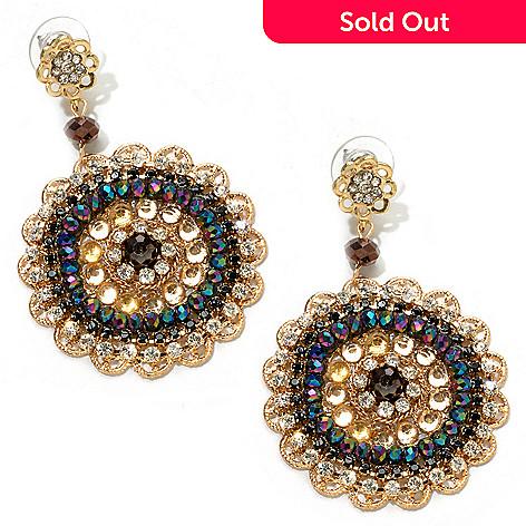 120-631 - Meghan Browne Style Gold-tone Crystal ''Aubrey'' Earrings