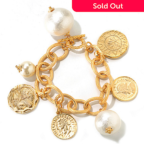 120-634 - Meghan Browne Style Gold-tone 7.75'' Oval Link ''Louise'' Bracelet