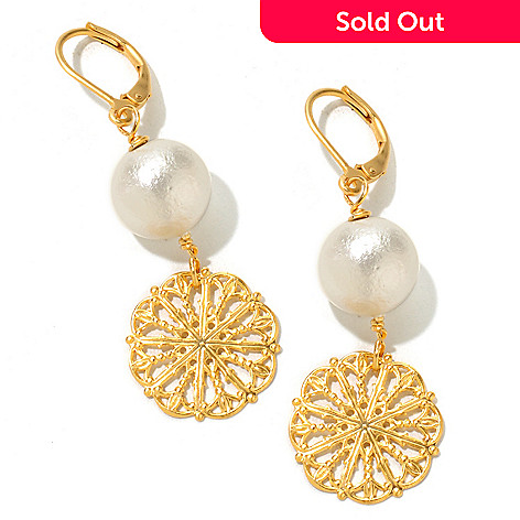 120-635 - Meghan Browne Style Gold-tone ''Dalton'' Dangle Earrings