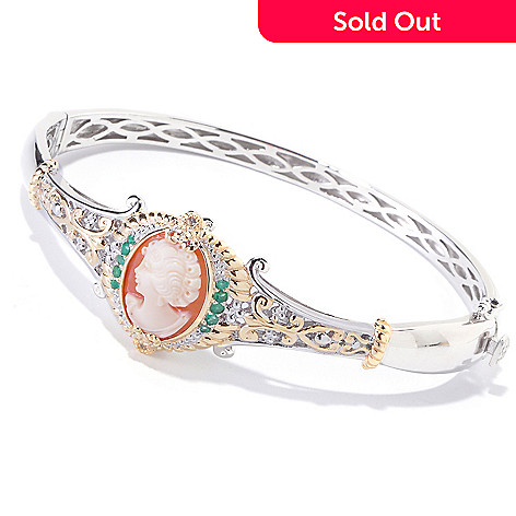 120-659 - Gems en Vogue Hand-Carved Shell Cameo, Emerald & White Sapphire Bangle Bracelet