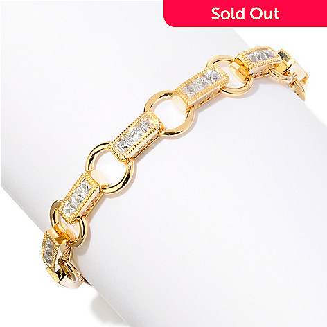 120-689 - TYCOON Channel Set Rope Border Simulated Diamond Link Bracelet