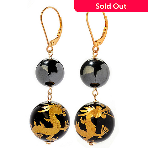 120-696 - 12mm Hematite & Carved Onyx ''Year of the Dragon'' Earrings