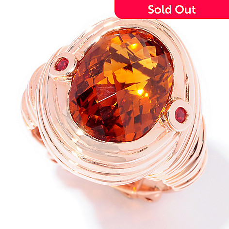120-697 - Dallas Prince 5.10ctw Madeira Citrine & Orange Sapphire Wire Wrap Ring