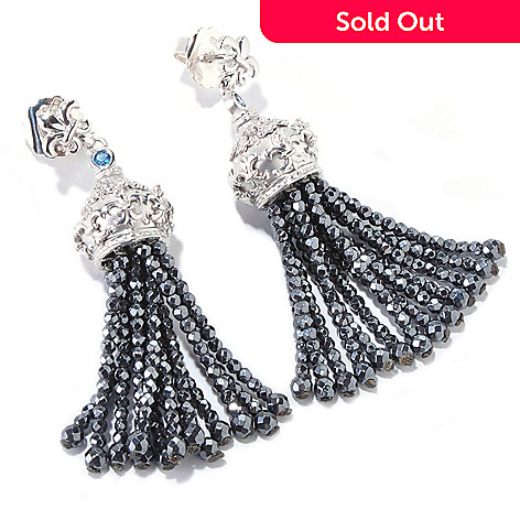 120-712 - Dallas Prince Sterling Silver 2.25'' Multi Gemstone Tassel Drop Earrings