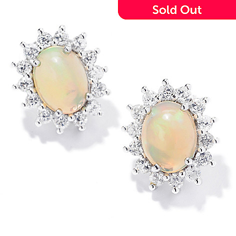 120-720 - Gem Insider™ Sterling Silver 9 x 6mm Ethiopian Opal & White Zircon Earrings