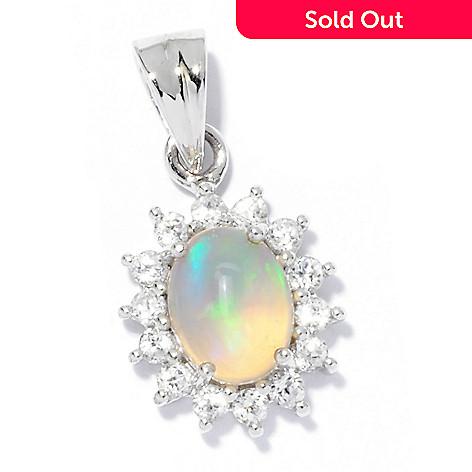 120-721 - Gem Insider™ Sterling Silver 8 x 6mm Ethiopian Opal & White Zircon Pendant