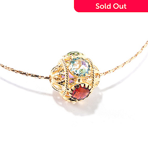 120-771 - Viale18K® Italian Gold 18'' Multi Gemstone Woven Chain Necklace