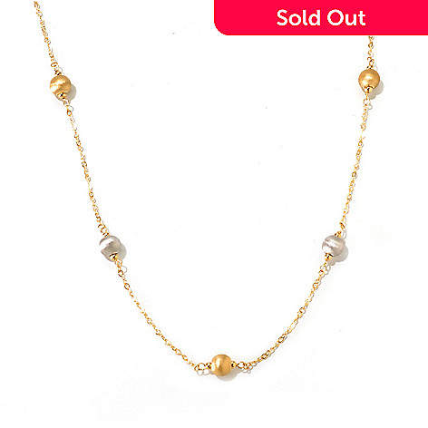 120-773 - Viale18K® Italian Gold 24'' Two-tone Bead Station Necklace