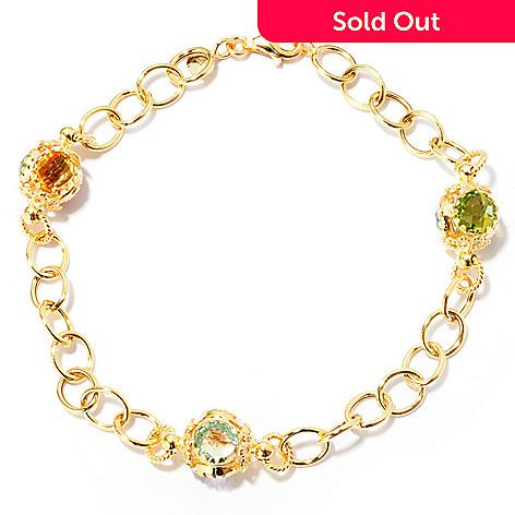 120-776 - Viale18K® Italian Gold 8'' Multi Gemstone Station Link Bracelet