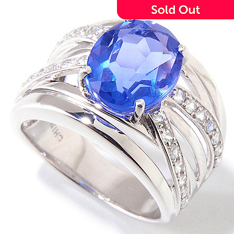 120-780 - Gem Insider® Sterling Silver 3.59ctw Color Change Fluorite & White Topaz Ring