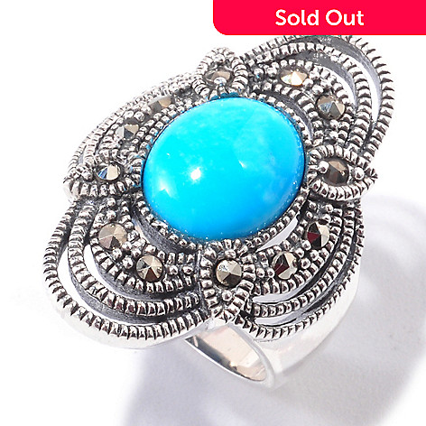 120-781 - Gem Insider® Sterling Silver 11 x 9mm Sleeping Beauty Turquoise & Marcasite Ring