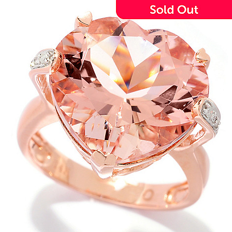 120-783 - Gem Treasures® 14K Gold 10.02ctw Morganite & Diamond Heart Shaped Ring