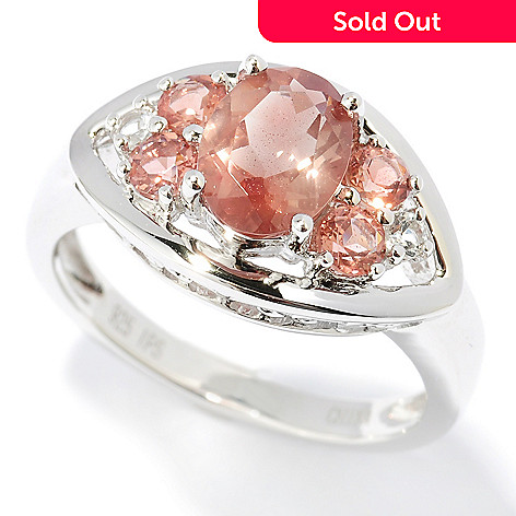 120-785 - Gem Insider™ Sterling Silver 2.39ctw Sunstone & White Topaz Ring