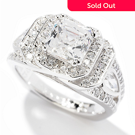 120-799 - TYCOON Platinum Embraced™ 2.71 DEW Simulated Diamond Double Halo Ring