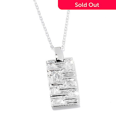 120-800 - TYCOON Platinum Embraced™ 4.36 DEW Simulated Diamond Pendant w/ Chain