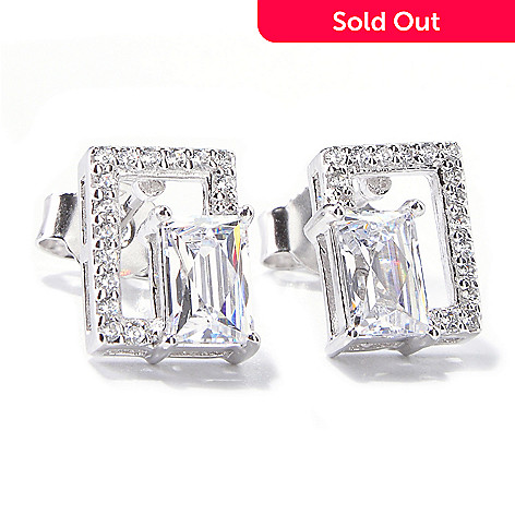 120-801 - TYCOON Platinum Embraced™ 1.48 DEW Simulated Diamond Geometric Stud Earrings
