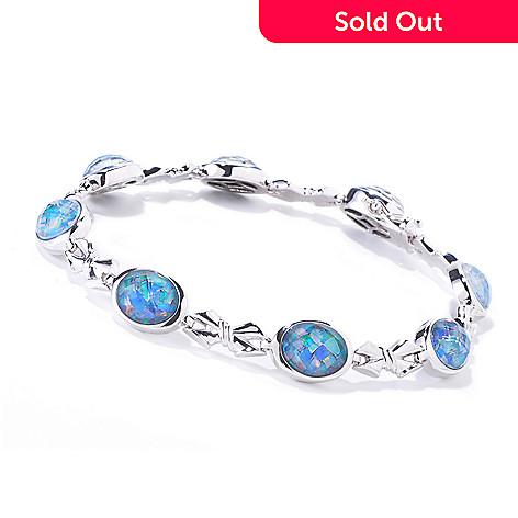 120-809 - Gem Insider™ Sterling Silver Mosaic Opal Triplet Station Bracelet