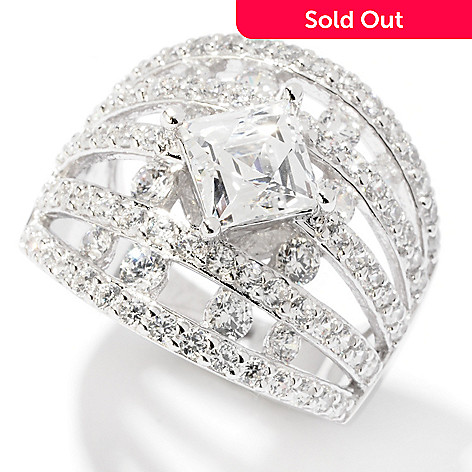 120-810 - TYCOON Platinum Embraced™ 2.97 DEW Simulated Diamond Five-Row Ring