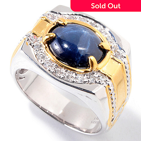 120-823 - Men's en Vogue 11 x 9mm Star Sapphire & White Sapphire Ring