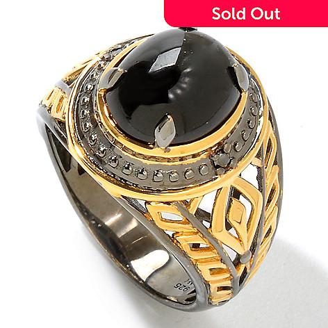 120-824 - Men's en Vogue 12 x 10mm Star Diopside & Black Diamond Ring