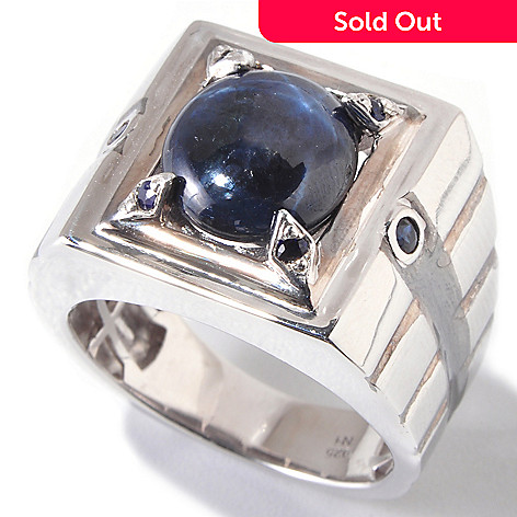 120-827 - Men's en Vogue 12 x 10mm Star Sapphire & Blue Sapphire Ring