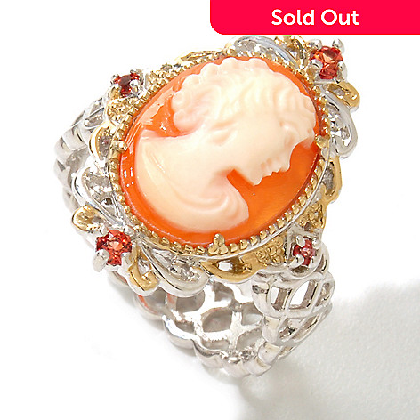 120-842 - Gems en Vogue 14 x 10mm Carved Shell Cameo & Orange Sapphire Ring