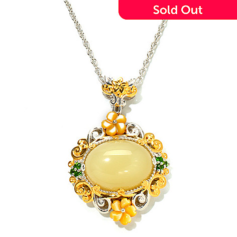 120-853 - Gems en Vogue 16 x 12mm Yellow Opal, Carved Shell & Chrome Diopside Pendant w/ Chain