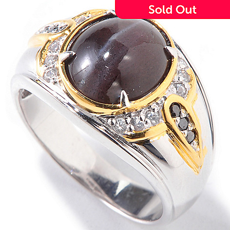 120-864 - Men's en Vogue Cat's Eye Scapolite, White Sapphire & Black Diamond Ring