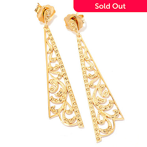 120-874 - Dallas Prince 2.25'' Scrollwork Chrome Marcasite Cut-out Triangle Drop Earrings