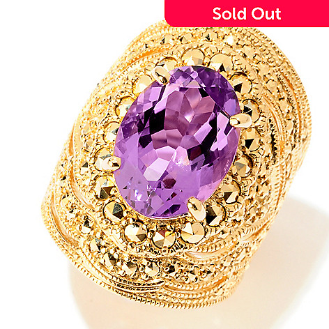 120-882 - Dallas Prince 14x10mm Amethyst & Chrome Marcasite North-South Beaded Ring