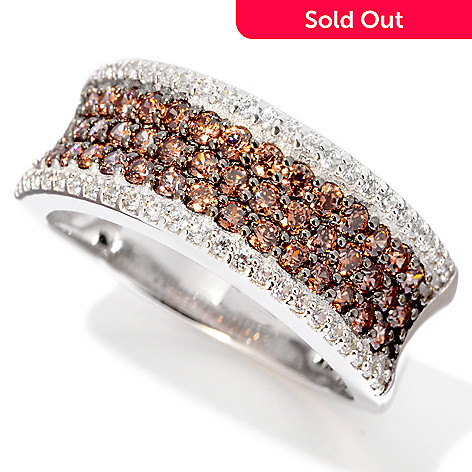 120-890 - Brilliante® Platinum Embraced™ 1.02 DEW Colored Simulated Diamond Pave Band Ring