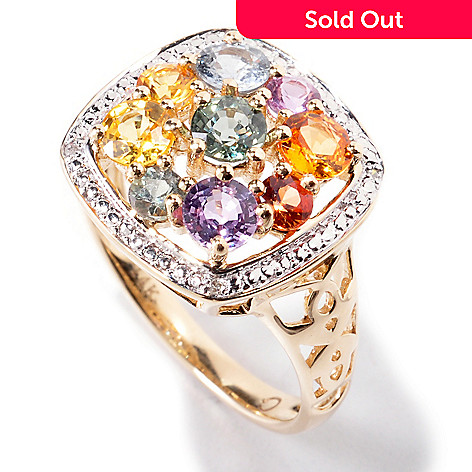 120-919 - Gem Treasures 14K Gold 2.17ctw Multi Sapphire & Diamond Square Ring