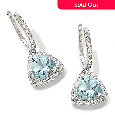 120-922 - Gem Treasures 14K White Gold 2.86ctw Aquamarine & White Zircon Drop Earrings