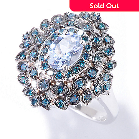 120-933 - Gem Treasures® 14K White Gold Blue Morganite & Blue Diamond Ring