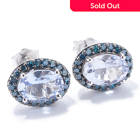 120-934 - Gem Treasures 14K White Gold 1.40ctw Blue Morganite & Blue Diamond Earrings
