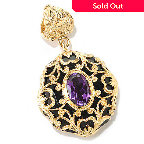120-937 - Dallas Prince Designs 12 x 8mm Amethyst & Onyx Filigree Enhancer Pendant