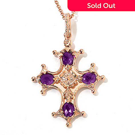 120-938 - Dallas Prince 5.24ctw Amethyst Cross Enhancer Pendant w/ 20'' Chain