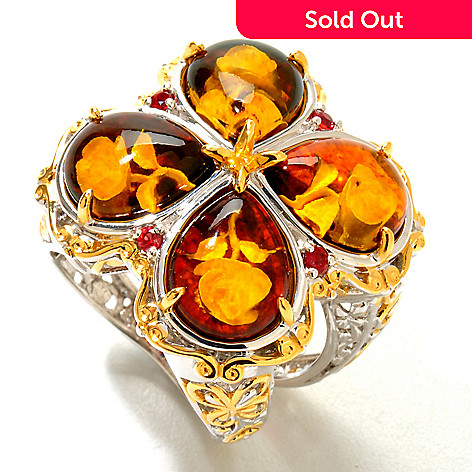 120-941 - Gems en Vogue II 10 x 8mm Carved Amber Intaglio & Orange Sapphire Clover Ring
