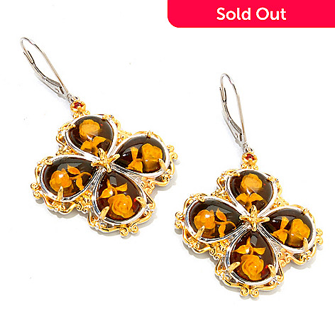 120-942 - Gems en Vogue 10 x 8mm Carved Amber Intaglio & Orange Sapphire Clover Earrings